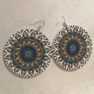White/Multi round flat earrings